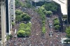 Handout aerial picture released by Riotur of the 'Cordao do Bola Preta' traditional carnival band parade in downtown Rio ...