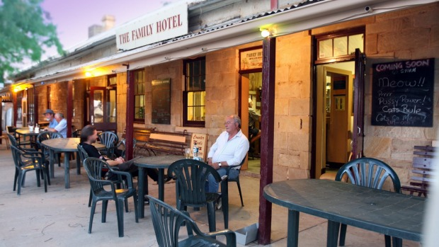 Visitors and locals enjoying afternoon drinks at The Family Hotel in Tibooburra, NSW.