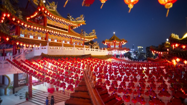 Traditional Chinese lantern decorations at a temple ahead of the Chinese Lunar New Year in Kuala Lumpur, Malaysia.