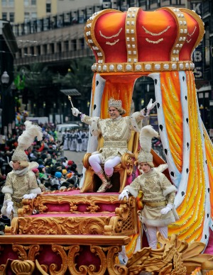 Rex, King of Carnival, gives well wishes to the crowds on Canal Street on Mardi Gras, in New Orleans. The crowd was ...
