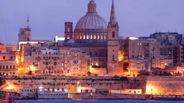 Malta: Valletta's fortifications look magnificent at twilight.