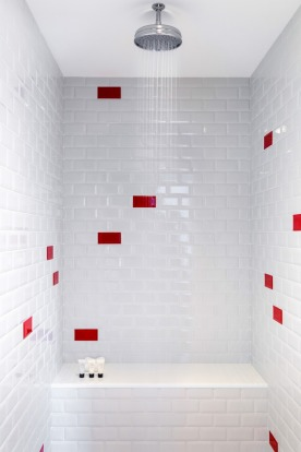 A shower built for two at the Virgin Hotel in Chicago.