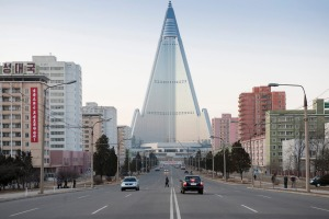 The city centre of Pyongyang with the giant Ryugyong hotel.