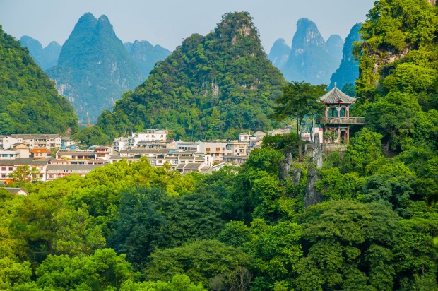 Characteristic karst landscape at Yangshuo.