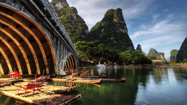 Bamboo rafts on the river.