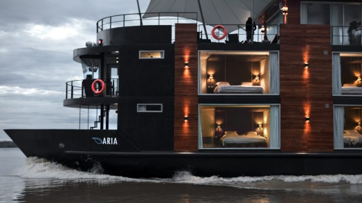 The MV Aria provides luxury Amazon  cruising.