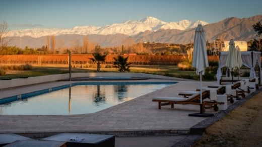 Snow-capped horizon: The pool at Entre Cielos has views of the grape vines and the mountains beyond.
