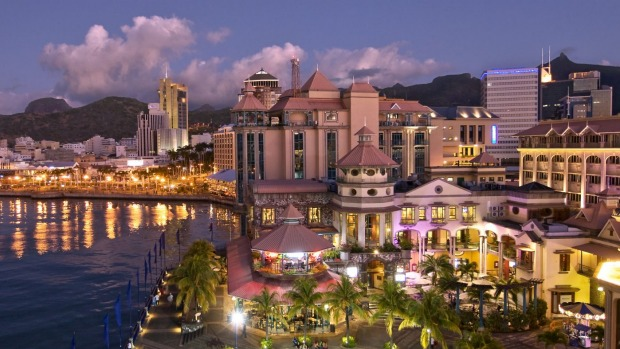 Port Louis at night, Mauritius.