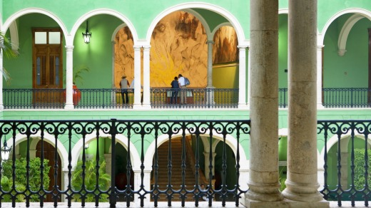 A pastel building in Merida.
