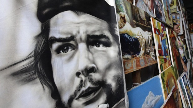 A painting of revolutionary leader Che Guevara at an artisans fair in Havana.