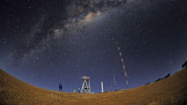 A night view of the Armazones hill in the Atacama desert.