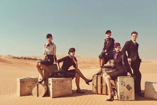 Ettore Bilotta has done a showstopper for Etihad Airways with hourglass shapes for female cabin crew in chocolate brown ...