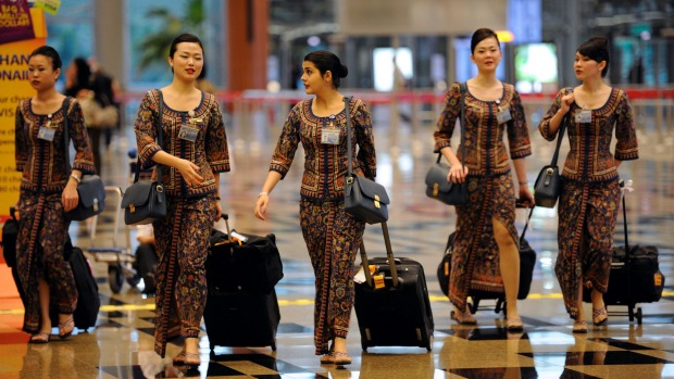 The sarong uniform worn by Singapore Airlines flight crew has been criticised for being impractical.