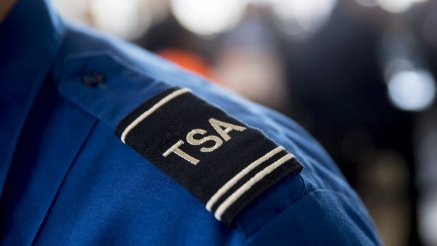 A Transportation Security Administration (TSA) officer stands for a photograph at a security checkpoint at Ronald Reagan ...