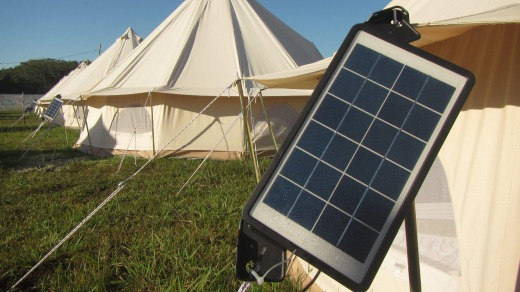 Tent solar panels: USB chargers allow campers to power up their phones.