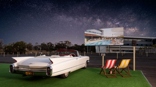 Park in style: Enjoy a Drive In movie in a 1960s Cadillac.