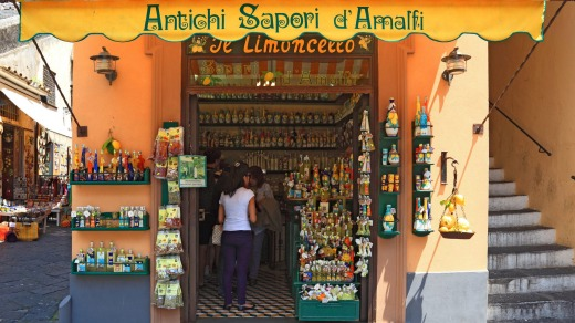 Limoncello, the distinctive lemon liqueur, for sale in Amalfi.