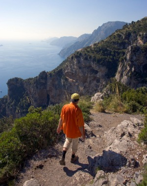 Hiking the Sentiero degli Dei, path of the gods, in the Lattari Mountains along the Amalfi Coast.