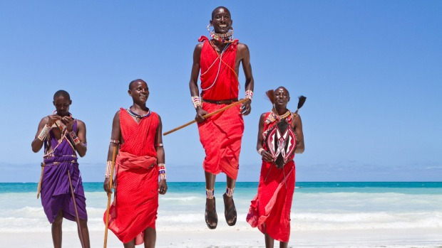 Leaping dance of the Massai in Kenya.