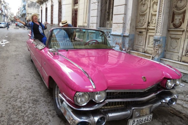 This photo was taken in Havana, Cuba 2014. My partner and I are about to 'hoon' around Havana, complete with a bottle of ...