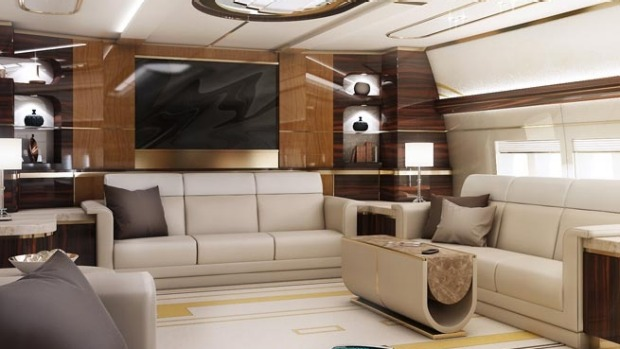 Lounge of a Boeing VIP 747-8.