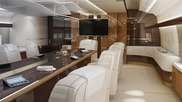 Conference Room of a Boeing VIP 747-8.