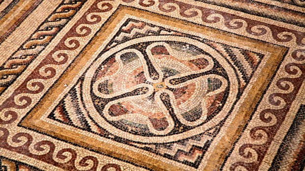 Mosaic at archarological site in the Cappadocia region.