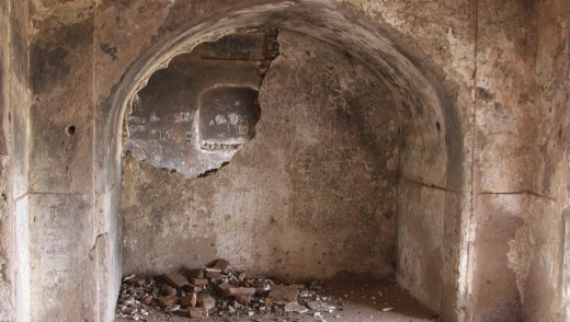 The rubble inside the ruins of a palace frequently visited by Mogul Queen Mumtaz Mahal in Burhanpur, India.