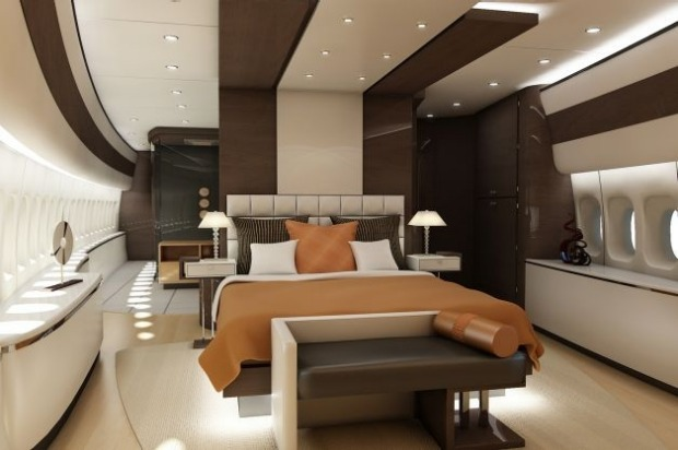 Master suite lounge of a VIP Boeing 747-8.