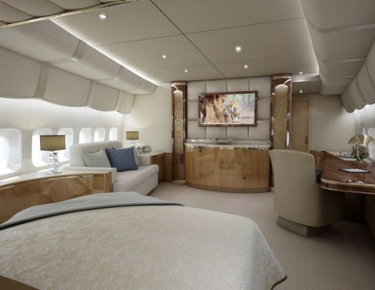 Master stateroom of a VIP Boeing 747-8.