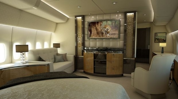 Stateroom of a VIP Boeing 747-8.