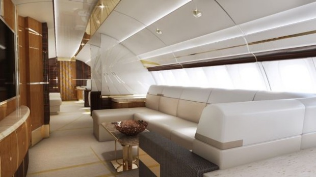 Upper-deck lounge of a VIP Boeing 747-8.