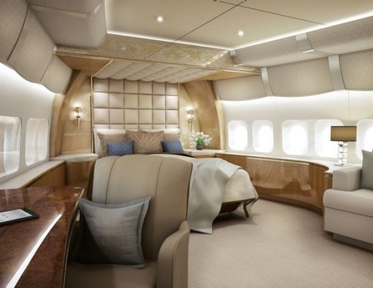 Forward stateroom of a VIP Boeing 747-8.