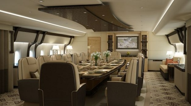 Dining room of a VIP Boeing 747-8.