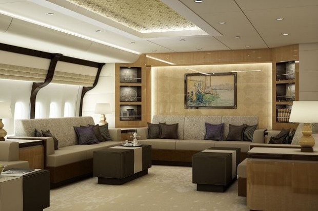 Lounge of a VIP Boeing 747-8.