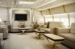 <b>Inside the Boeing 747 jumbo jet built for a VIP:</b> Lounge of a VIP Boeing 747-8.