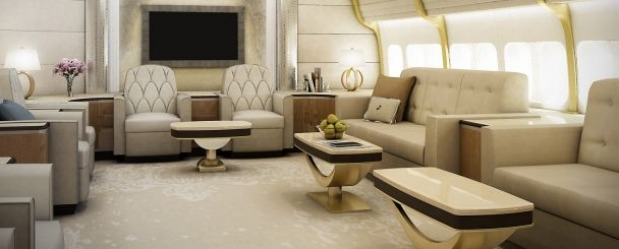 Lounge of a VIP Boeing 747-8 2.