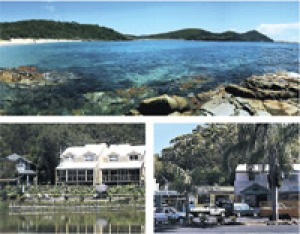 Surf and turf ... (clockwise from main) ElizabethBeach; the main street; and Blueys Retreat.
