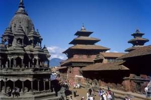 Pattans Durbar Square with Buddhist and Hindu Temples from the 17th Century, Kathmandu, Nepal.
