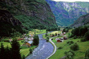 Scenery on the Flam Line Railway shortly after leaving Flam.