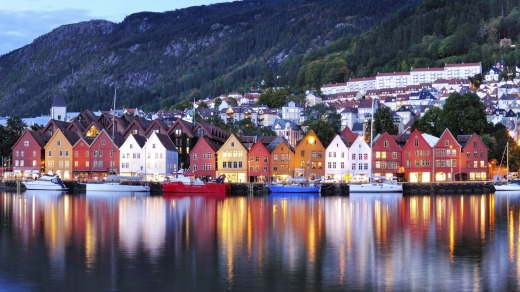 Coloured houses in Bergen, Norway.