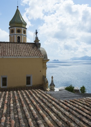Church at Priano, Capri in the extreme distance.