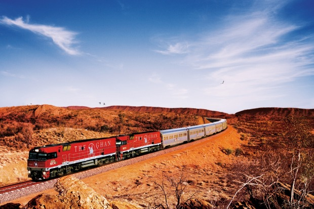 Through the outback: The Ghan from Adelaide to Darwin.