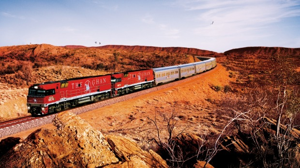 The Ghan approaches Alice Springs.