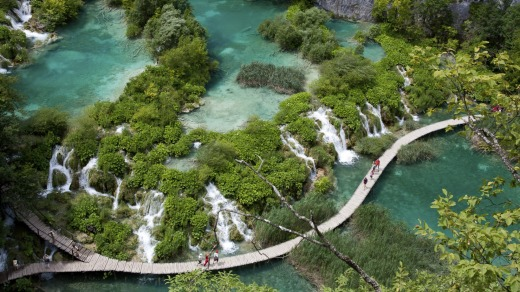 The Plitvice lakes in Croatia.