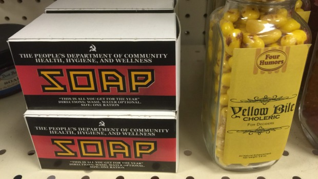 Soviet-style soap and 'yellow bile' on the shelves at the Time Travel Mart.