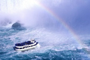 Canada, Ontario, Niagara Falls, the Maid of the Mist at the bottom of Canadian fall