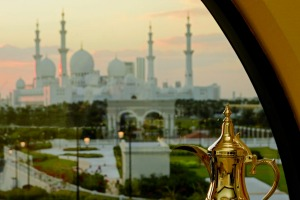 The view across to the Sheikh Zayed Grand Mosque.
