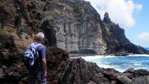 Pitcairn Island has a wild and picturesque coastline that's accessed by daunting scrambles along lava rock.