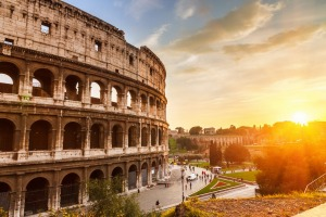 The Colosseum, Rome, at sunset.